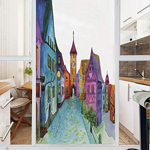 Decorative Window Film,No Glue Frosted Privacy Film,Stained Glass Door Film,European Scenery with Pastel Colors and Road Aged Old Architecture Image Print,for Home & Office,23.6In. by 47.2In Multicolo