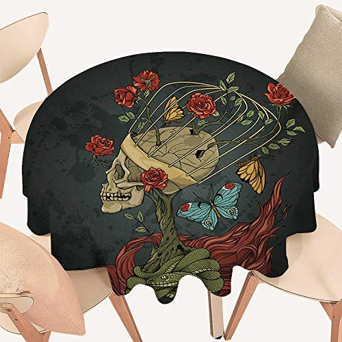 W Machine Sky Skull Circular Table Cover Evil Mexican Sugar Skeleton with Kitsch Bush of Roses Snake and Butterfly Artwork Round Tablecloth D 36