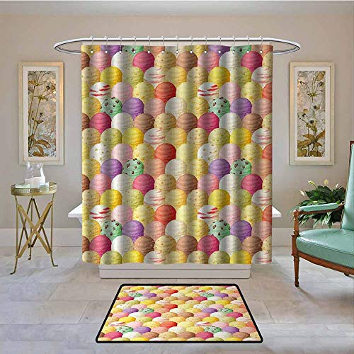 Waterproof Fabric Shower Curtain Ice Cream,Circular Shapes with Several Ice Cream Flavors Background Colorful Yummy Print,Multicolor,Machine Washable - Shower Hooks are Included 72