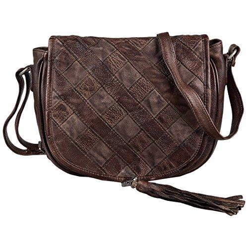Taschendieb TD0724 - Bolsa de Medio Lado de Cuero Mujer Schokolade, Braun