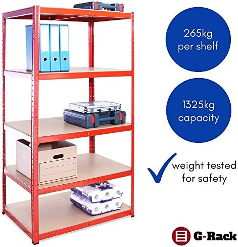 Garage Shelving Units 180cm X 90cm X 60cm Heavy Duty Racking Shelves For Storage 1 Bay Red 5 Tier 265kg Per Shelf 1325kg Capacity For Workshop Shed Office