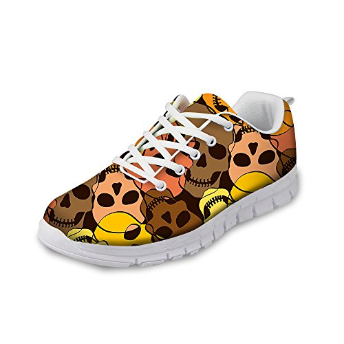 FOR U DESIGNS Cool Skull Print Womens Breathable Light Weight Lace Up Fashion Sneakers Comfortable Running Shoes Brown a PDqk43AB