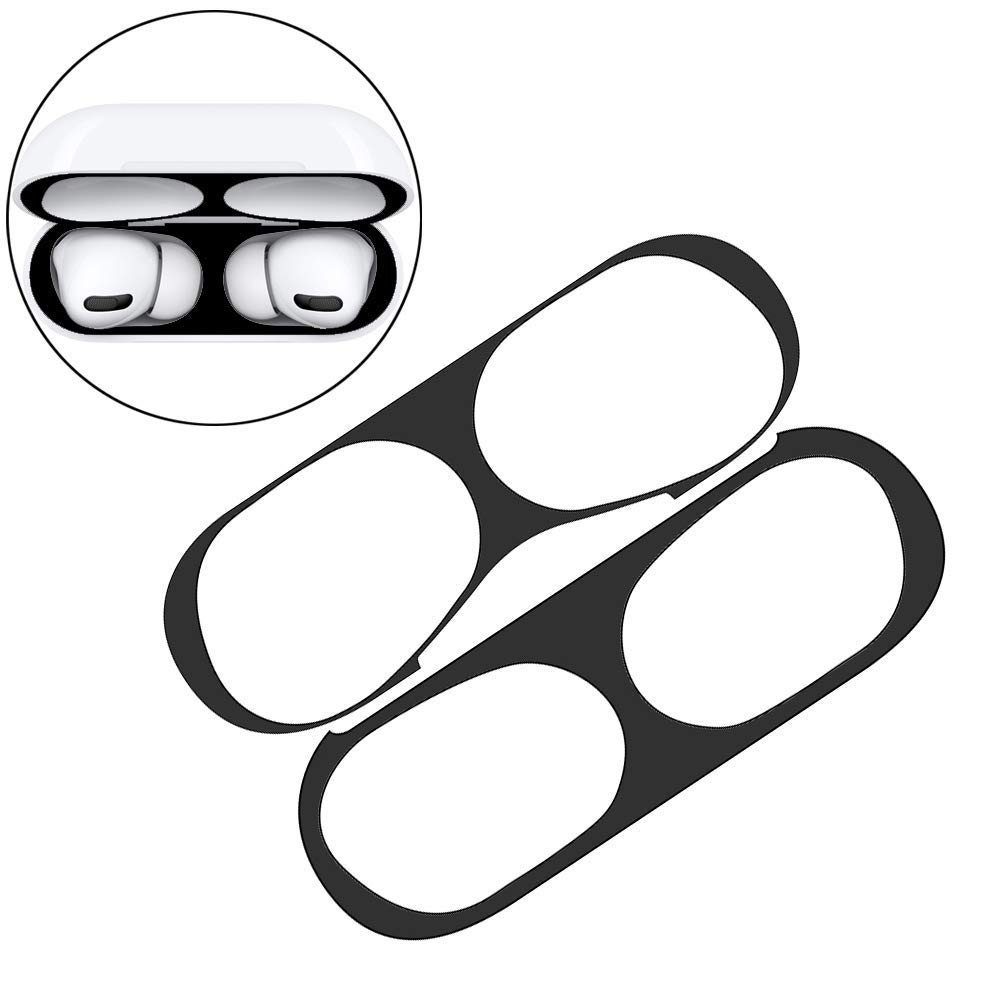 Luxury Iron Shavings Dust Guard for Airpods Pro Ultra Thin Skin Protective Cover Metal Film Sticker for Airpods Pro Dust-Proof Protective Film (Black)