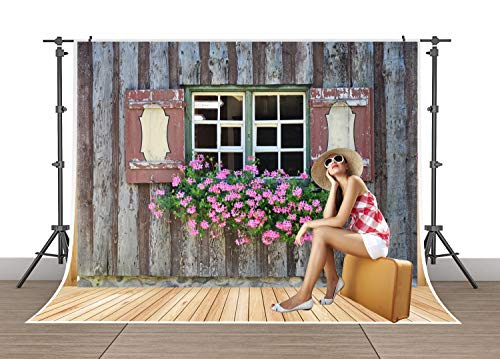 (5x7ft Rustic Wood Cabin Window Photography Background Brown Wooden Balcony with Flowers Photo Backdrop Studio Props Photo Backdrop Wall SSA002)