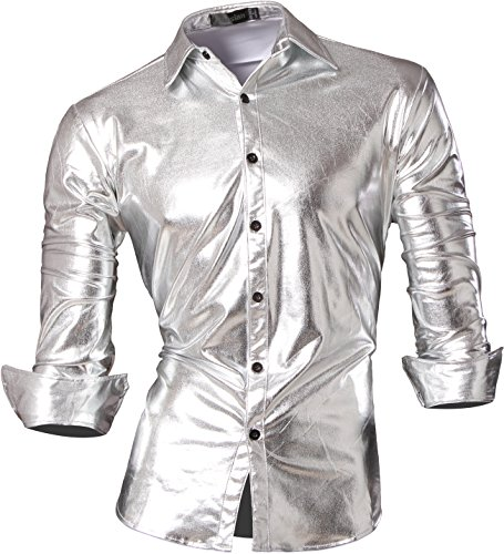 jeansian Men's Bronzing Slim Long Sleeves Dress Shirt Z036 Silver L ()