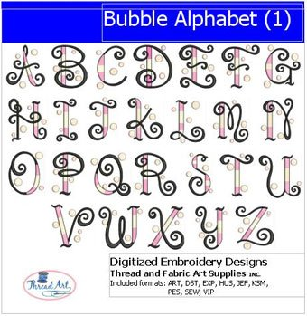 (Threadart Machine Embroidery Designs - Bubble Alphabet(1) - USB Stick)