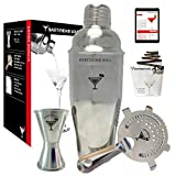 Advanced Professional Cocktail Shaker Set - 25oz - 0.8mm Thickness, 18/8 304 No Rust Grade Stainless Steel, Big Double Jigger, Hawthorne Strainer, Recipes Booklet & eBook Included