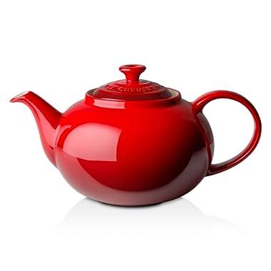 Le Creuset PG0328-0067 Enameled Stoneware Traditional Teapot, 1.4 quart, Cerise