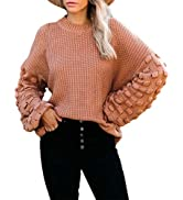 Kisscynest Women's Casual Oversized Pullover Sweater Cute Long Sleeve Crew Neck Tops Loose Fitting