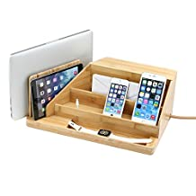 Great Useful Stuff All-in-One Charging Station - Natural Bamboo with Brown Corded Power Strip