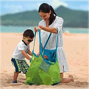 Flyme Beach Bag Foldable Mesh Tote Bag Storage Handbag for Travel Swim Boating Beach Backpack Carry Toys All Sand Away