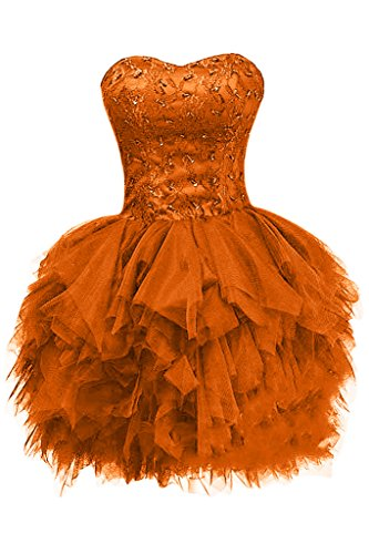 Brautjungfernkleid Tuell Partykleid orange Bride Applikation Mini Linie Modern A Herz Z Cocktailkleid Gorgeous Ausschnitt qzx0wT6x1