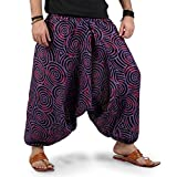 Boho Hippie Mens Womens Harem Pants - Spiral Design (Purple)