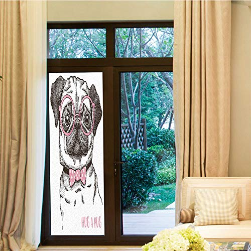 YOLIYANA Privacy Window Film,Pug,for Home Office School,Cute Pug with Pink Bow Tie Oversized Glasses,24''x70''