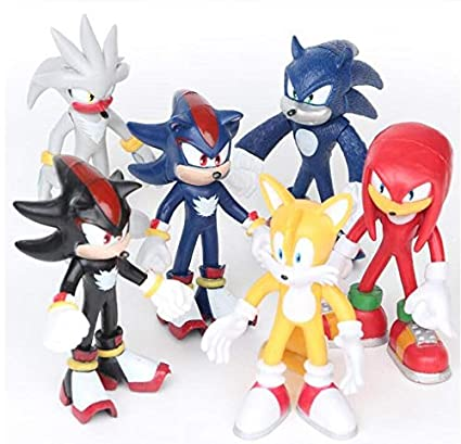 Tails Amy Super Sonic PVC Action Figure The Hedgehog 6pcs/lot The Hedgehog Knuckles Shadow