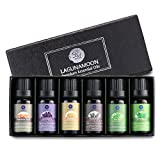 Lagunamoon Essential Oils Top 6 Gift Set Pure Essential Oils Gift Set for Diffuser, Humidifier, Massage, Aromatherapy, Skin & Hair Care