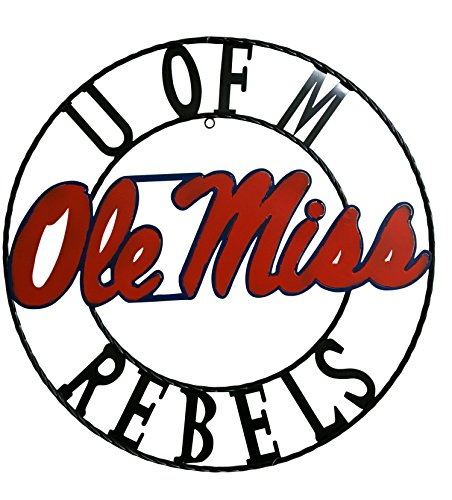 LRT SALES NCAA Mississippi Old Miss Rebels Licensed Collegiate Wrought Iron Wall Decor, 24