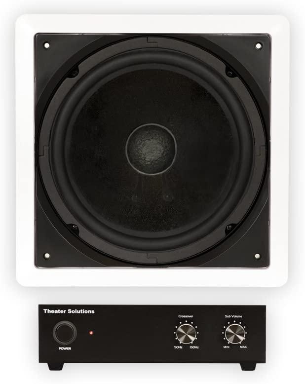 """Theater Solutions TS1000 Passive 10"""" Home Theater in Wall Subwoofer and Amp Set"""