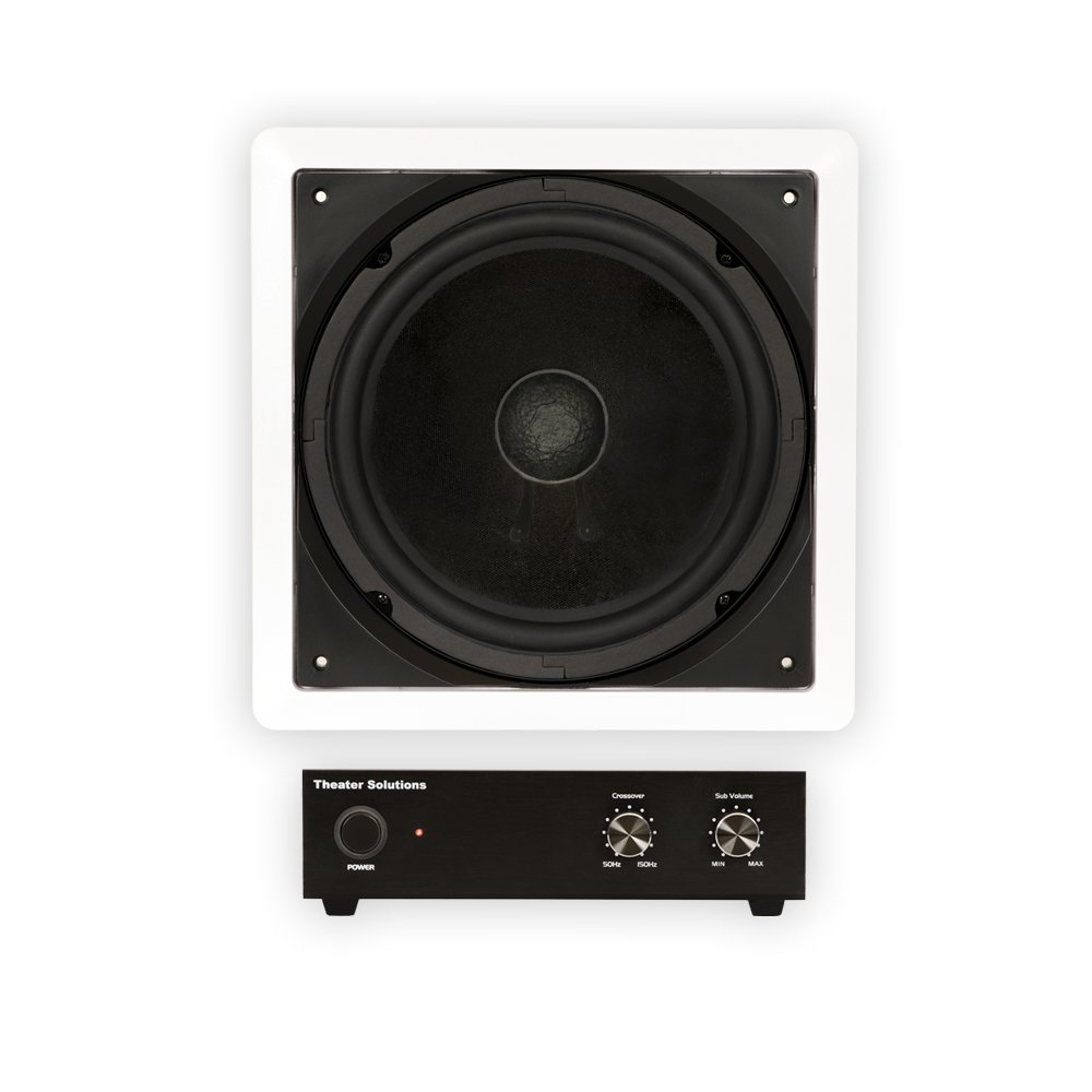 Theater Solutions TS1000 Passive 10'' Home Theater In Wall Subwoofer and Amp Set by Theater Solutions