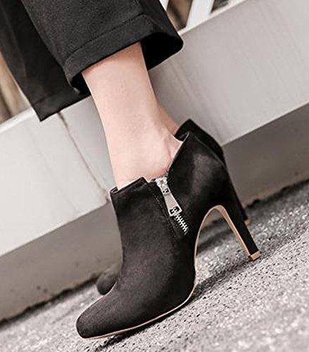 Idifu Mujeres Sexy Punta Estrecha Faux Suede Botas High Stiletto Heels Negro