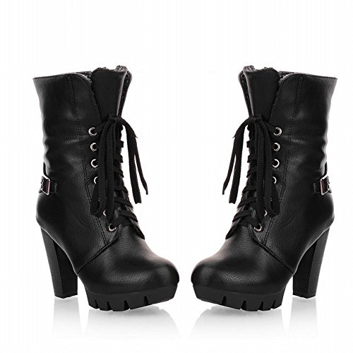 Latasa Damesmode Platform Blok Hoge Hak Vetrokken Koud Weer Winter Oxford Boots Zwart