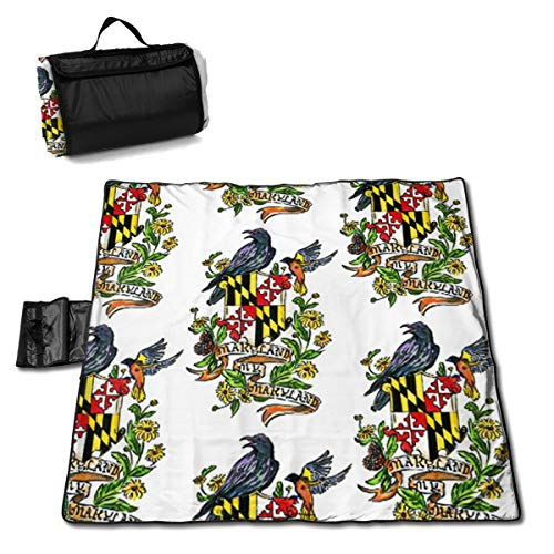 Jinitami Large Waterproof Outdoor Picnic Blanket My Maryland Baltimore Oriole Sandproof Beach Mat Tote for Camping Hiking Grass Travelling