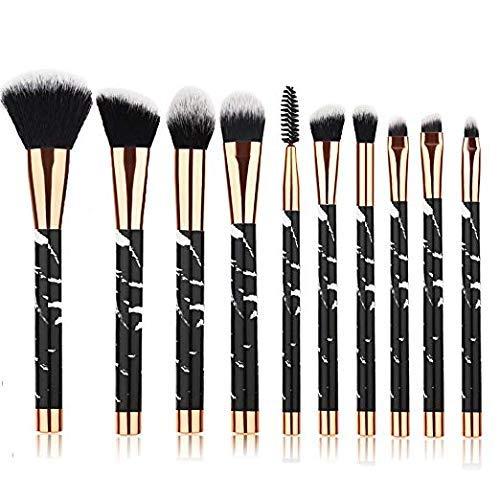 Micup 10 Pcs Marble Makeup Brushes Foundation Blending Blush Conceler Eyeliner Liquid Powder Cream Cosmetic Brush Set (Black)
