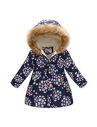 Jesfe Girls' Hooded Puffer Jacket, Fleece Jacket Thick Cotton Fur Hood