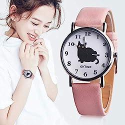 BrookfieldQQCA Reloj de Cuarzo con Correa de Cuero de Moda para Mujer, Gato Lindo, Reloj de Cuarzo con Esfera Redonda, Rosa