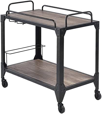 ACME Caitlin Serving Cart – 98174 – Rustic Oak Black