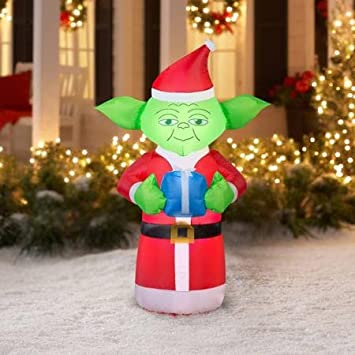 fun 5 airblown inflatable yoda with present star wars christmas inflatable