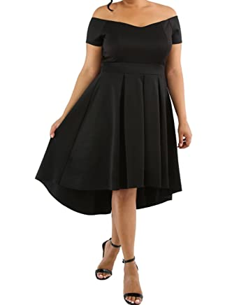 ac4f01aecd563 Just For Plus Black Plus Size Off Shoulder Swing Dress Vintage 1950s Party  Cocktail Bridesmaid at Amazon Women's Clothing store: