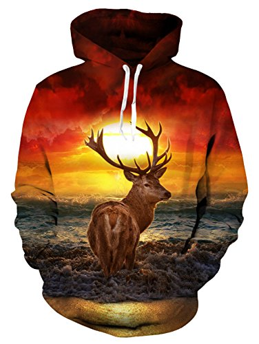 RAISEVERN Unisex 3D Sunset Wapiti Deer Printed Casual Pullover Long Sleeve Fleece Hooded Sweatshirts