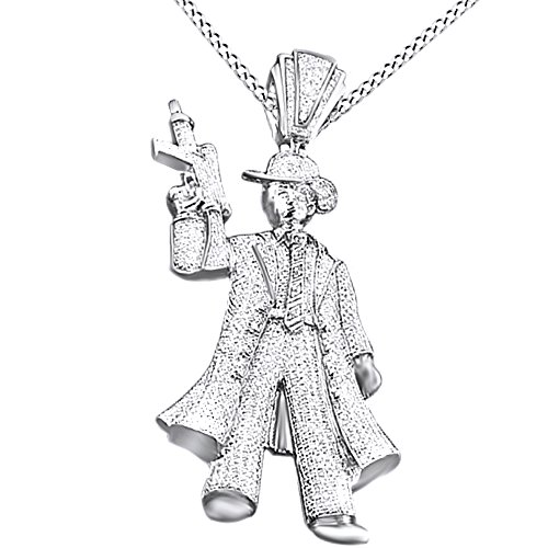 White Cubic Zirconia Men's Hip Hop Scarface Tonny Montana Pendant In 14k White Gold Over Sterling Silver by AFFY