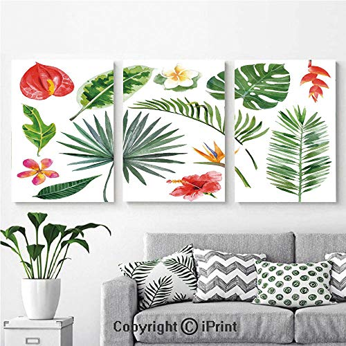 Canvas Prints Modern Art Framed Wall Mural Diverse Collection of Leaves and Flowers from Tropical Lands Heliconia Philodendron for Home Decor 3 Panels,Wall Decorations for Living Room Bedroom Dining