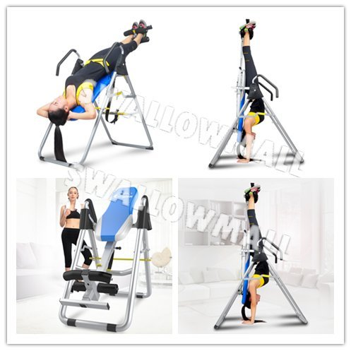 SWM Inversion Therapy Table Inversion Table for Back Pain Adjustable Therapy Folding Fitness Table Inversion Tables with Back Pain Relief Gravity Inversion Tables for Home Use Sports Equipment (Blue)