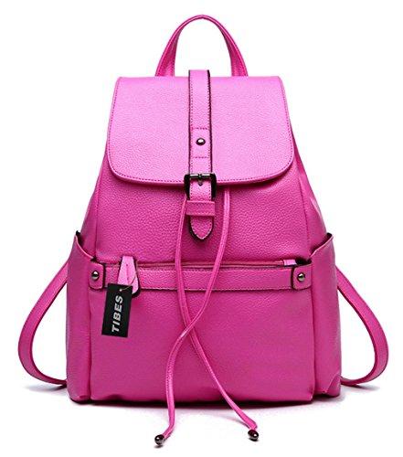 Tibes Pequeña mochila impermeable bolso Mochila de cuero PU mujer backpack Rosa Rosa