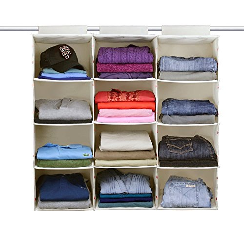The G.U.S No-Sag Hanging Essential 4-Shelf Closet Organizer, Ecru/Beige, Set of 3 (Closet Shelves Building In A)