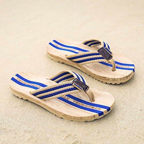 Eagsouni Herren Damen Sommer Flip Flops Sandalen Casual Rutschfest Pantoletten Badelatschen Strand Wasser Schuhe Weich Schaum solen Zehentrenner Slipper Leicht Unisex Bequem Badeschuhe Hausschuh Blau