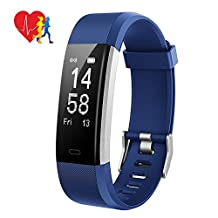Mpow Smart Fitness Tracker,Smart Bracelet, Heart Rate Monitor, Sleep Monitor,with 14 Exercise Modes, 4 Watch Faces, GPS Route Tracking, Alarms, Notification and Camera Shooting, USB Quick Charge,for iPhone 8/X/7/7Plus/6/6s/6 Plus, Android and iOS Smart Phones for Christmas Gifts and Presents ( Blue )