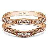 1/4 ct. Diamonds (G-H,I2-I3) Millgrained Edge Contour Ring Guard in Rose Gold Plated Sterling Silver (0.24 ct. twt.)