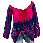 Wobuoke Womens V-Neck Lace Printed Bandage Long Sleeves Plus Size Tops Shirts Loose Blouse