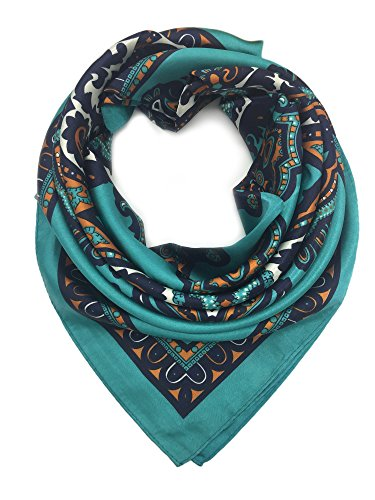 YOUR SMILE Blackish Green Silk Like Scarf Women's Fashion Pattern Large Square Satin Headscarf (147)