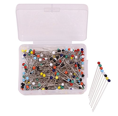 Shapenty 37mm/1.46 Inch Long Mixed Colors Decorative Glass Round Ball Head Dressmaker Straight Pins for DIY Sewing Craft Projects, 3mm Diameter, 250 (Colored Head Pins)