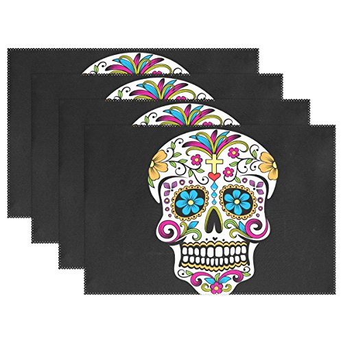 Naanle Floral Skull Placemat Set of 6, Mexican Skull Day of The Dead Heat-Resistant Washable Table Place Mats for Kitchen Dining Table Decoration