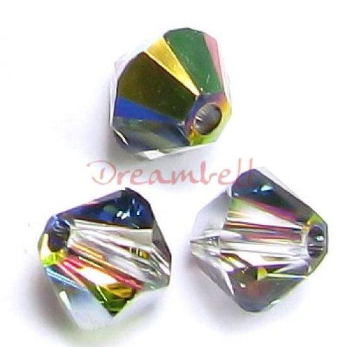 Swarovski 5301 24 Piece (72 pcs Swarovski Crystal 5328 Xilion Bicone Bead Spacer Vitrail Medium 4mm / Findings / Crystallized Element)