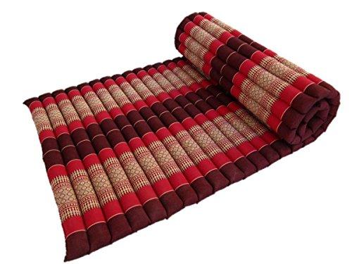 Kapok Stuffing Thai Yoga Mattress Roll Up Camping Sleeping Mat Meditation Cushion Medium 72 Inches (Daisy Raspberry) by Blue Orchid
