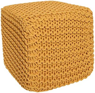 REDEARTH Cube Pouf Ottoman -Poof Pouffe Accent Chair Square Seat Footrest for Living Room, Bedroom, Nursery, kidsroom, Patio, Gym 100 Cotton 16x16x16 Mustard