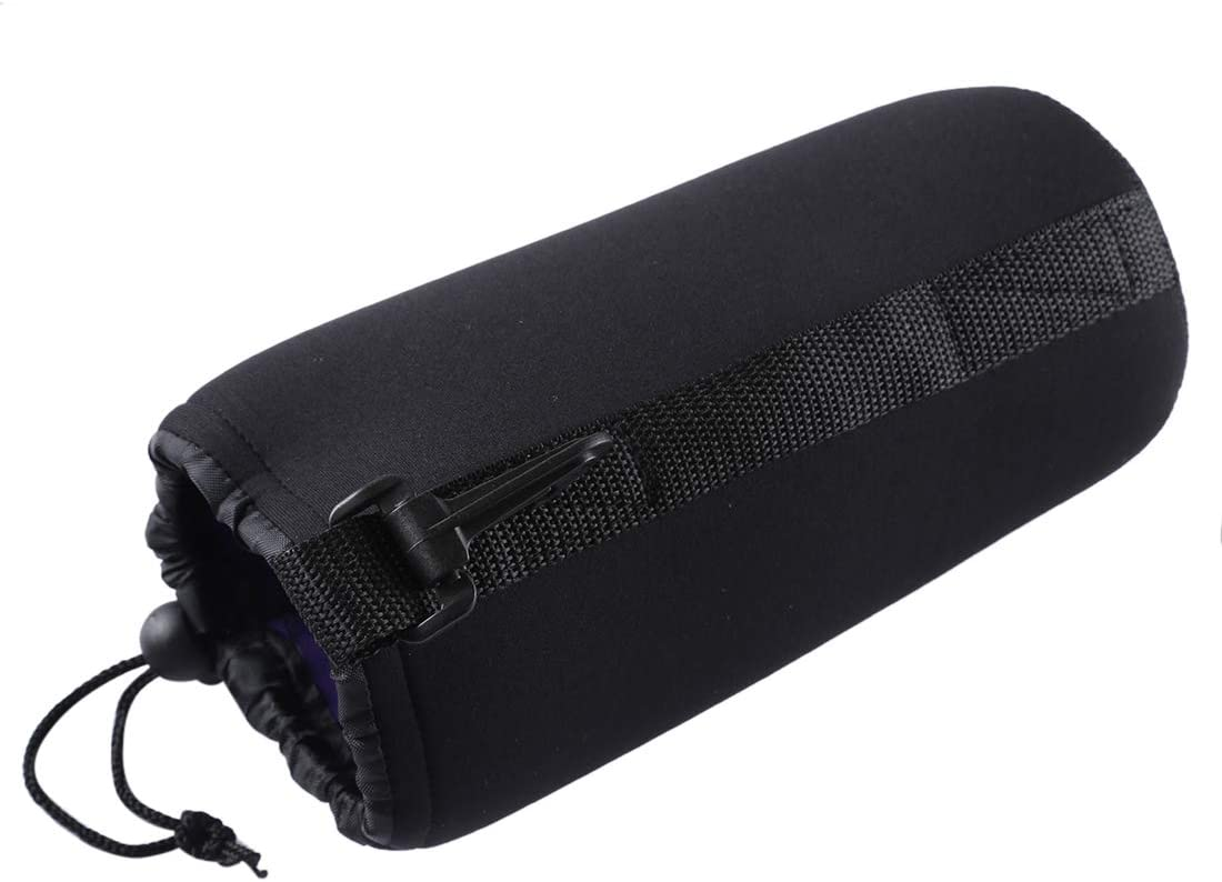 JINGZ Neoprene SLR Camera Lens Carrying Bag Pouch Bag with Carabiner 10x22cm Durable Size
