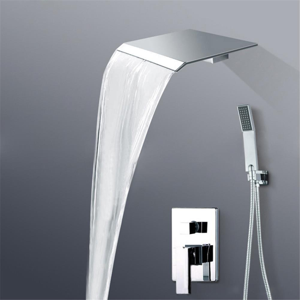 low-cost GAOF Luxury chrome wall mounted Rain and Waterfall shower faucet Set with hand shower single handle BR-PB-100